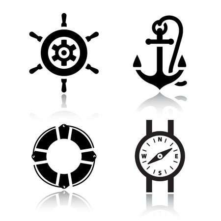 mooring anchor: Set of travel icons