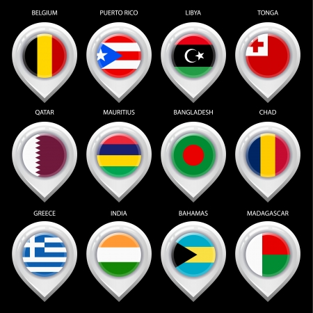 flag pin: Map marker with flag-set ninth