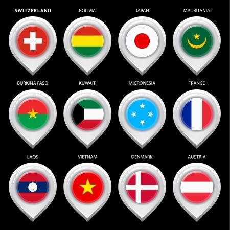 guia turistica: Mapa del marcador con la bandera-set primero