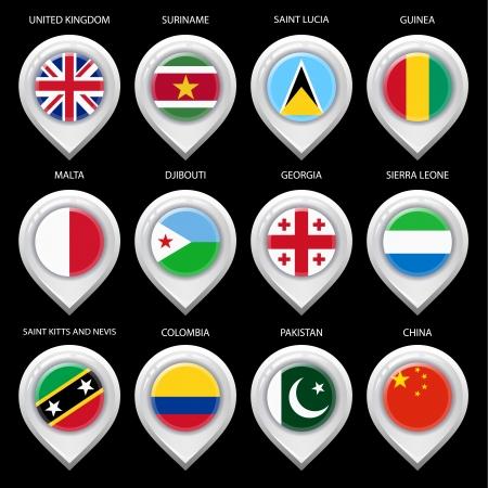 guia turistica: Mapa del marcador con la bandera-set cuarto