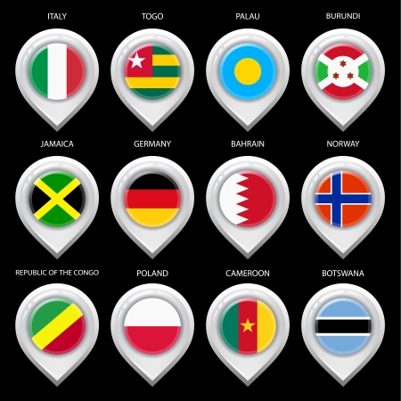 Map marker with flag-set seventh Vector