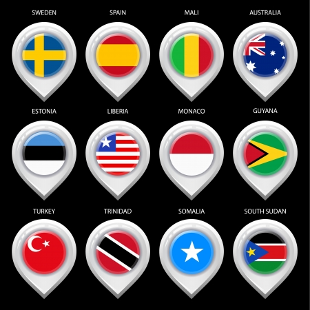 guia turistica: Mapa del marcador con la bandera-set tercero