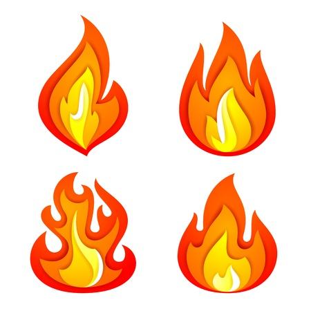Fire flames set Stock Vector - 19731799