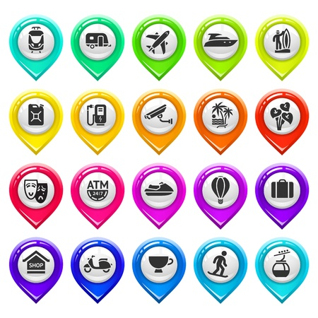 distance marker: Map marker with icons-set five