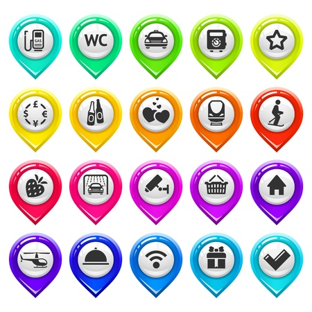 map marker: Map marker with icons-set three Illustration
