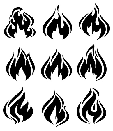 Fire flames, set black icons