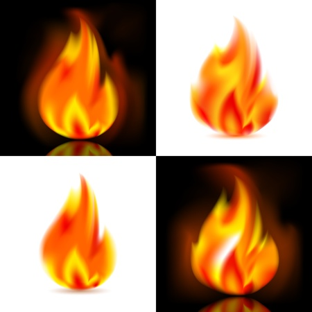 Fire, 4 vector flames Vector