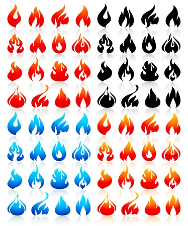 Fire flames, big set icons Stock Vector - 19801589