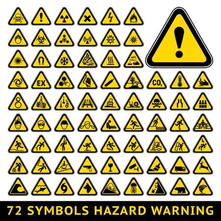 Driehoekige Waarschuwing gevaarsymbolen Grote gele set