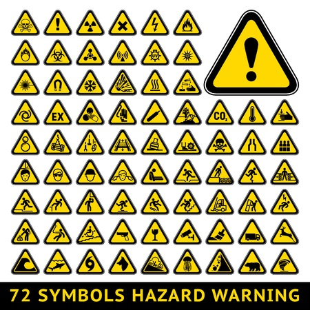 Triangular Warning Hazard Symbols  Big yellow set Illustration