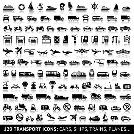 транспорт: 120 Транспорт значок с отражением