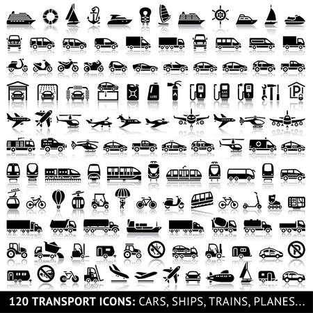 camioneta pick up: 120 del icono del transporte con la reflexión