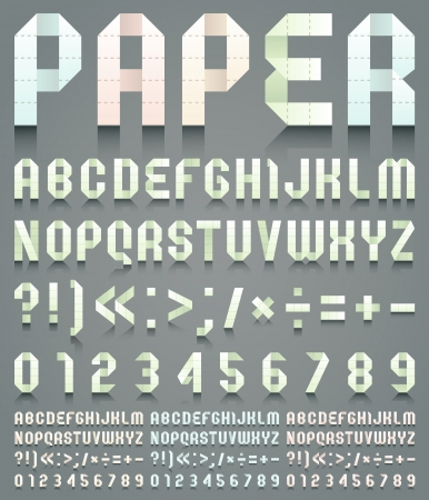 Alphabet folded of perforated paper Vector