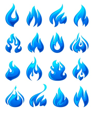 flammable warning: Fire flames, set 3d blue icons
