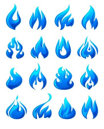fuego azul: Llamas de fuego, iconos azules 3d establecidos Vectores
