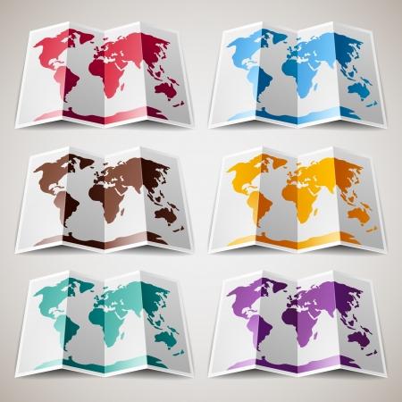 Set mit bunten Karten der Welt Standard-Bild - 19939930