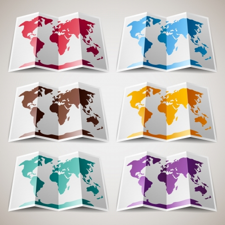 physical geography: Set of colorful Maps of the World
