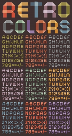alphanumeric: Font from colored tapes