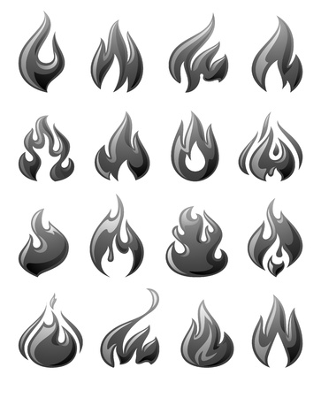 Fire flames, set 3d gray icons Stock Vector - 19939881