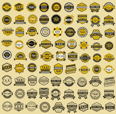 taxi: Taxi insignia - vintage style  Big set Illustration