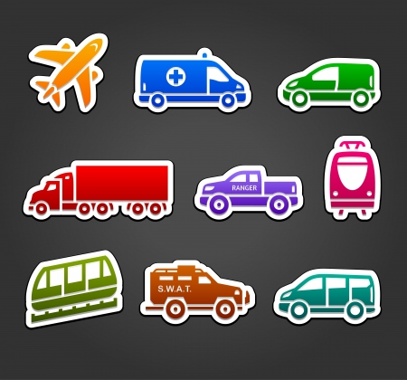 family van: Set of stickers, transport color icons Illustration