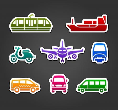 Set of stickers, transport color signs Illustration