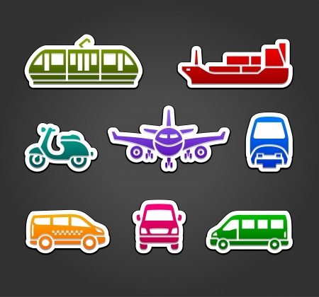 Set of stickers, transport color signs Ilustração