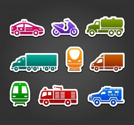 Satz von Aufklebern, transportieren Farbsymbolen Vektorgrafik