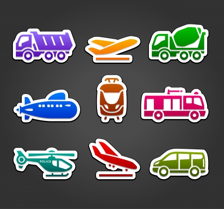 Set of stickers, transport color pictograms Stock Vector - 19939875