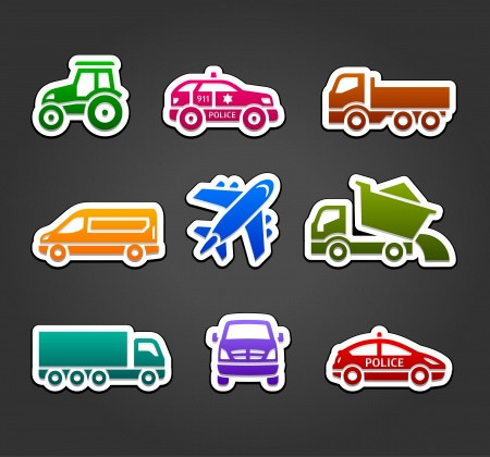 Set of sticky stickers, transport color icons Stock Vector - 19939877