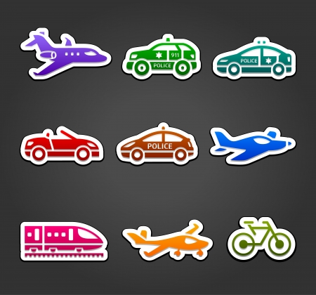 defense facilities: Set of sticky stickers, transport color pictograms Illustration