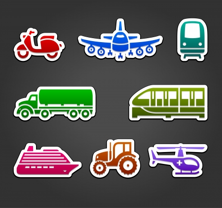 Set of sticky stickers, transport color symbols Vector