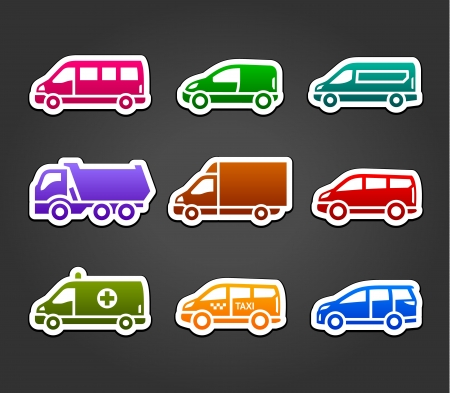 Set of sticky stickers, transport color signs Vector