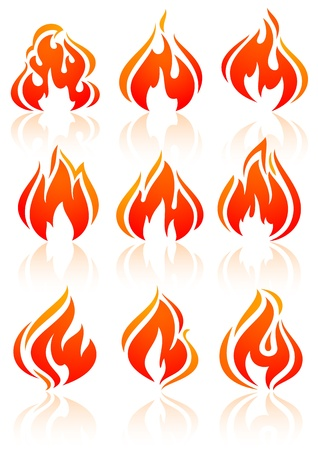 inferno: Fire flames, set red icons