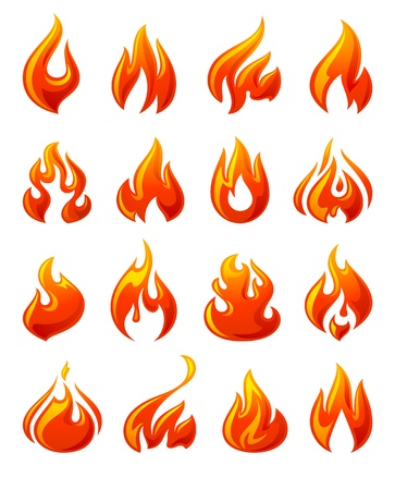fireballs: Fire flames, set 3d red icons