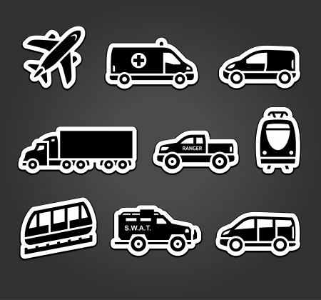 family van: Set of stickers, transport icons