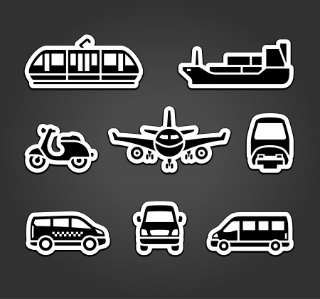 tramcar: Set of stickers, transport signs