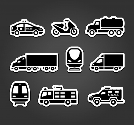 defense facilities: Set of stickers, transport symbols