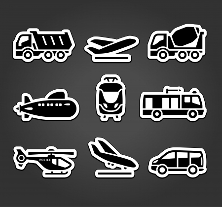 Set of stickers, transport color pictograms Vector