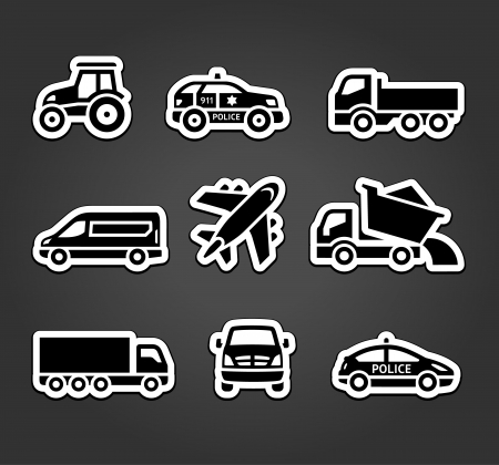 sprinter van: Set of sticky stickers, transport icons