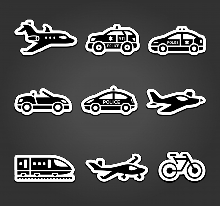 Set of sticky stickers, transport pictograms Vector