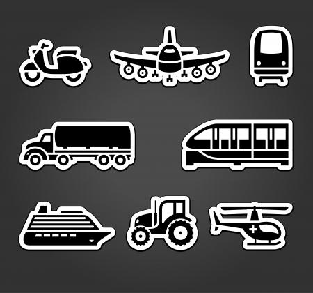 world agricultural: Set of sticky stickers, transport symbols