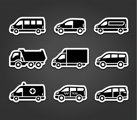 family van: Set of sticky stickers, transport signs