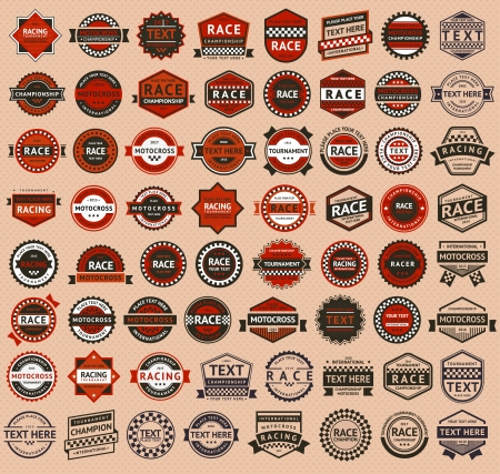 motorbike race: Racing badges - vintage style, big set
