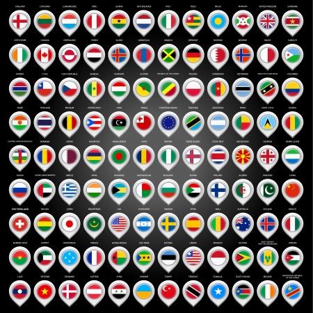 bandiere del mondo: 108 indicatore di mappa con le bandiere
