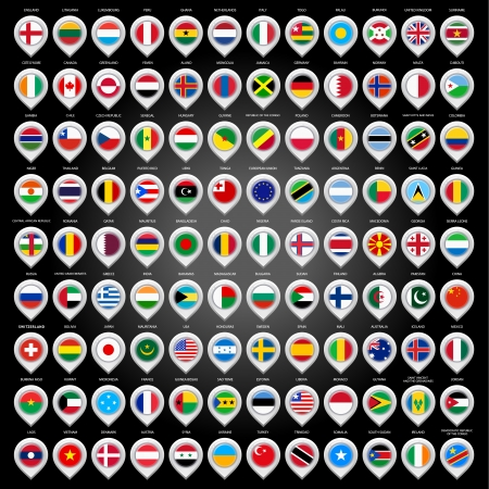 108 Map marker with flags Vector