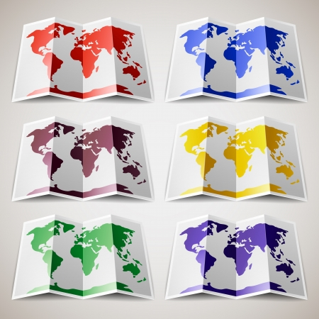 travel locations: Set of colored Maps of the World Illustration