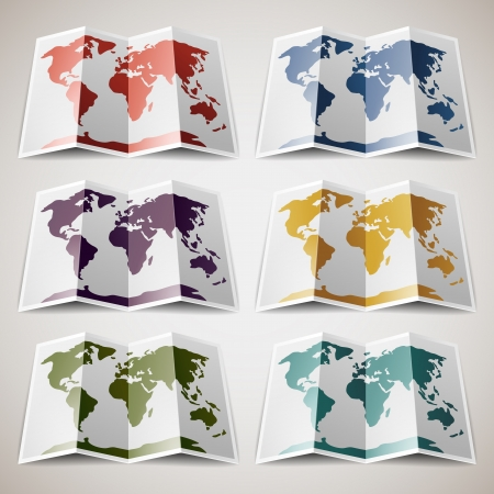 Set of retro colored Maps of the World Illustration