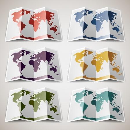 Set van retro gekleurde Kaarten van de Wereld
