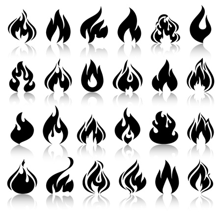 burn: Fire flames, set icons with reflection